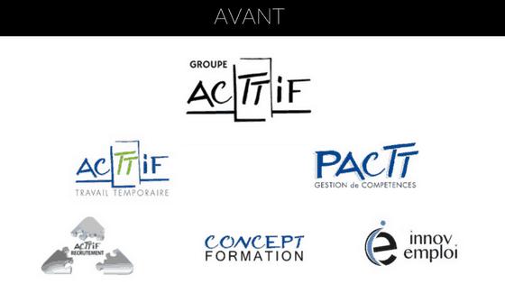 anciens logos du groupe acttif