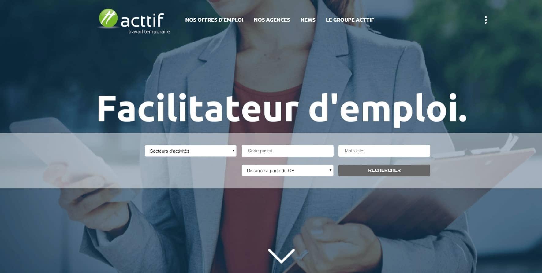 page d'accueil du site web d'acttif travail temporaire