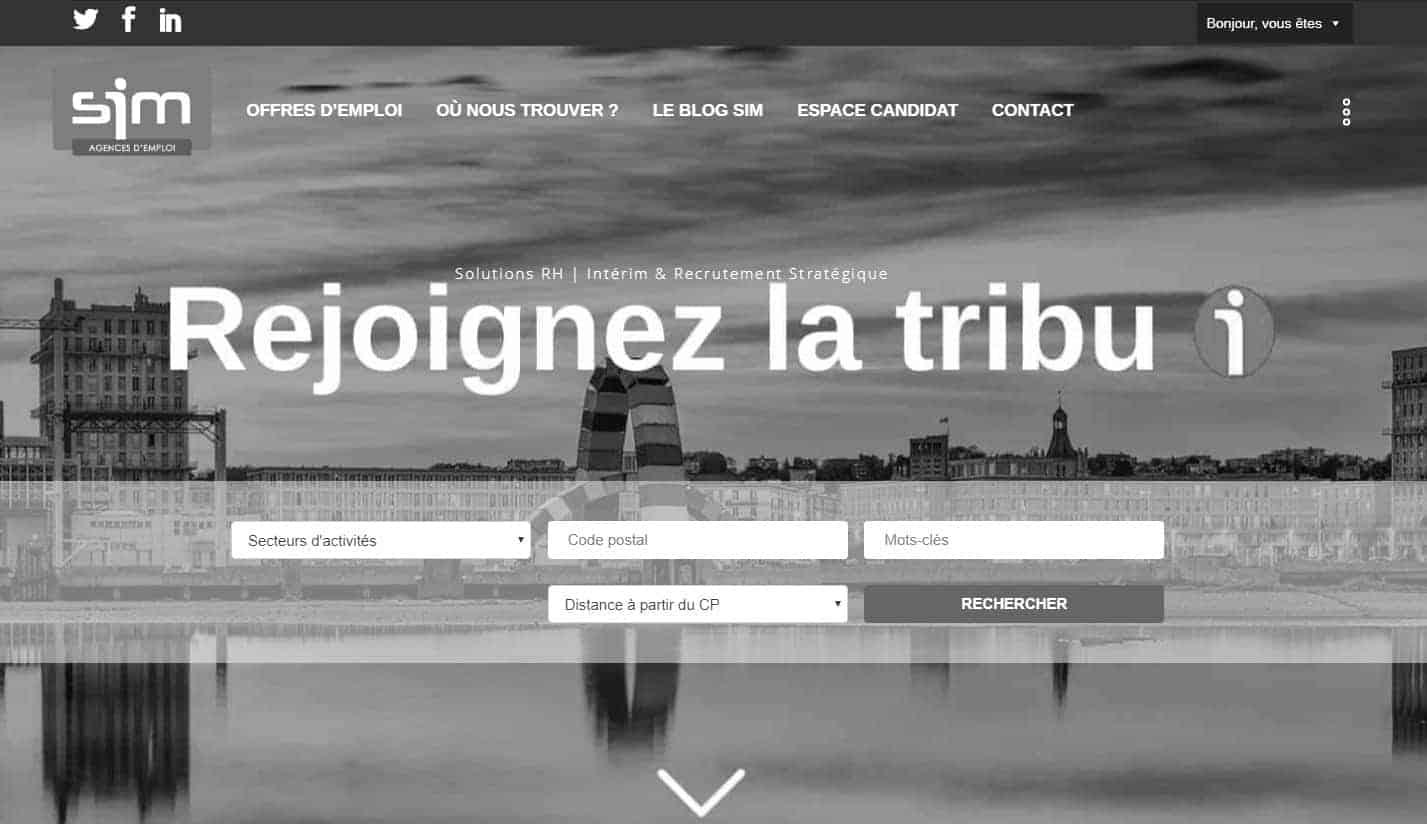 page d'accueil du site SIM Emploi en noir et blanc