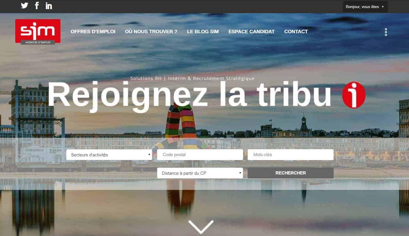page d'accueil du site SIM Emploi