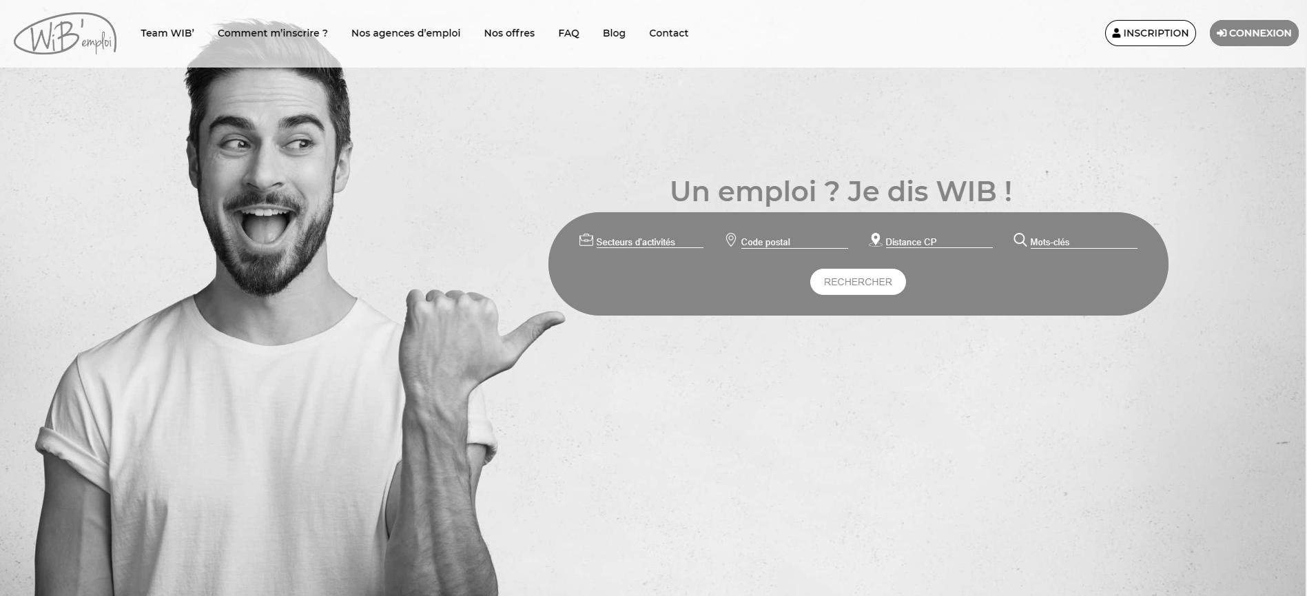 Page d'accueil du site WiB