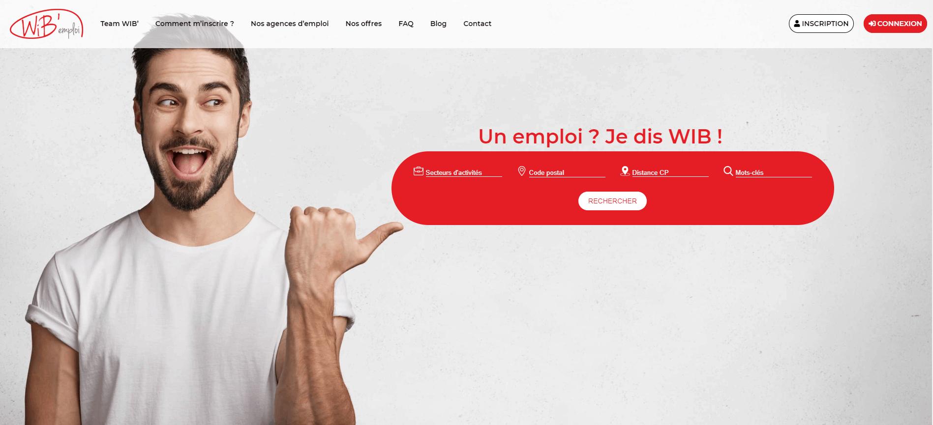 Page d'accueil du site WiB'emploi